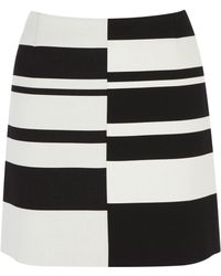 Karen Millen Graphic Stripe Mini Skirt - Lyst