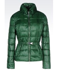 Armani Jeans Down Jacket In Technical Fabric With Belted Waist - Lyst