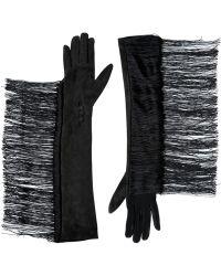 Lanvin Fringed Suede Gloves - Lyst