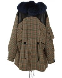 Rodarte Wool Tweed And Leather Anorak With Blue Fox Fur Collar - Lyst