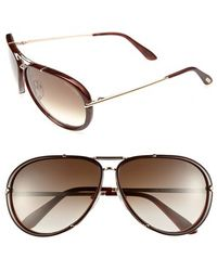 Tom Ford - 'cyrille' 63mm Aviator Sunglasses - Shiny Rose Gold/ Brown - Lyst