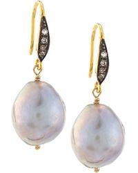 Margo Morrison - Gray Baroque Pearl & White Sapphire Drop Earrings - Lyst