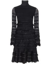 Alexander McQueen Knitted Dress with Lace - Lyst