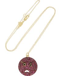Alison Lou Angry 14-karat Gold Ruby Diamond and Enamel Necklace - Lyst