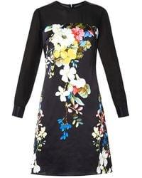 Erdem Onassis Velasquez Night-Print Silk Dress black - Lyst