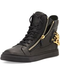 Giuseppe Zanotti Chain-back High-top Sneaker - Lyst