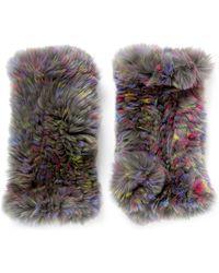 Hockley - 'asella' Rabbit Fur Short Fingerless Mittens - Lyst