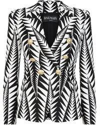 Balmain Cotton-Blend Jacquard Blazer - Lyst