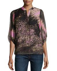 Diane von Furstenberg 3/4-Sleeve Printed Woven Blouse - Lyst