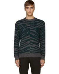 Marc Jacobs Grey and Green Tiger Stripe Cashmere Sweater - Lyst