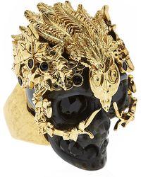 Alexander McQueen Owl Skull Ring - Lyst