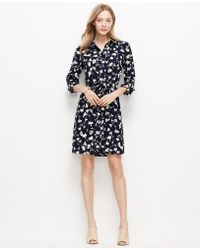 Ann Taylor Floral Print Shirtdress - Lyst