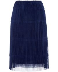 Burberry Prorsum Pleated Tulle A-Line Skirt blue - Lyst