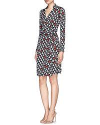 Diane von Furstenberg 'New Jeanne Two' Heart Print Silk Jersey Wrap Dress - Lyst