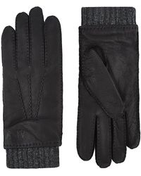 Armani Jeans - Woollined Leather Gloves - Lyst