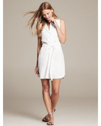 Banana Republic Twill Tie Front Dress White - Lyst
