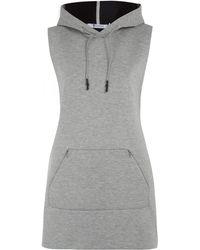 T By Alexander Wang Grey Reflective Stripe Sleeveless Hood Sweatshirt - Lyst
