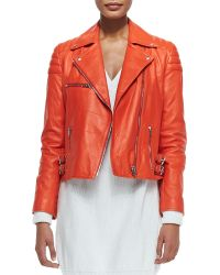 McQ by Alexander McQueen Notched-collar Leather Biker Jacket - Lyst