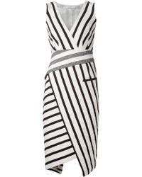 Altuzarra Striped Asymmetric Dress black - Lyst