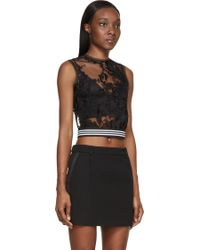 Denis Gagnon - Black Floral Lace Sheer Sleeveless Top - Lyst