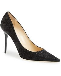 Jimmy Choo Abel Glitter Lace Pointed-Toe Pumps - Lyst