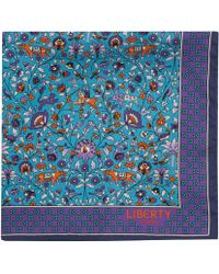 Liberty - Turquoise Imran Print Silk Pocket Square - Lyst