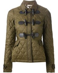 Burberry Brit Green Quilted Coat - Lyst