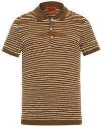 Missoni Striped Fine-Knit Polo Shirt khaki - Lyst