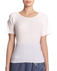 Issey Miyake Textured Short-Sleeve Tee white - Lyst