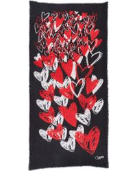 Diane von Furstenberg | Grace Hearts Faded Scarf - Hearts Faded Black | Lyst