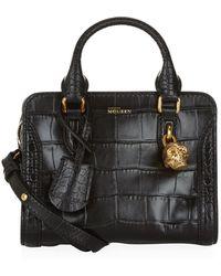 Alexander McQueen Mini Crocodile Padlock Zip-Around Bag - Lyst
