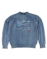 Ralph Lauren Blue Label Blue Denim Effect Sweater blue - Lyst