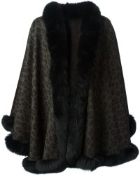 Sprung Freres - Leopard-Print Wool and Fur Cape - Lyst
