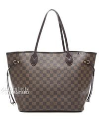 Louis Vuitton Pre-owned Damier Ebene Neverfull Mm Tote Bag - Lyst