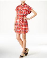 G.H.BASS - Plaid-print Belted Shirtdress - Lyst