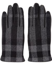 Burberry - Grey & Black Check Gloves - Lyst