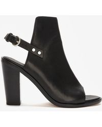 Rag & Bone Wyatt Leather Slingback Peeptoe Black - Lyst