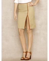 Ralph Lauren Blue Label Leather-trimmed Chino Skirt - Lyst
