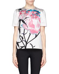 Prabal Gurung Floral Print Silk Satin Top - Lyst