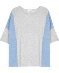 Duffy - Grey And Blue Pointelle Cashmere Jumper - Lyst