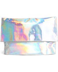 Asos Hologram Foldover Clutch Bag - Lyst