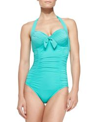 Seafolly Goddess Softcup Halter Onepiece Swimsuit - Lyst