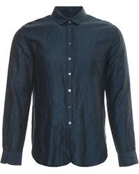 John Varvatos | blue Round Collar Shirt | Lyst