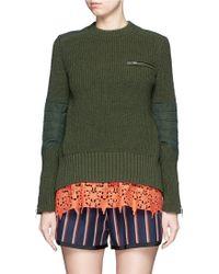 Sacai | Star Lace Camisole Rib Knit Sweater Set | Lyst