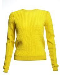 Folk - Mesh Knit Panel Jumper In Yellow - Last One - Lyst