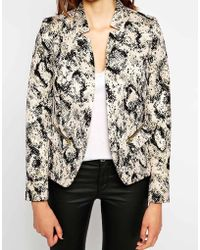 Helene Berman Notch Collar Edge To Edge Jacket in Snake Print - Lyst