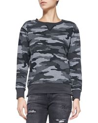 Current/Elliott The Stadium Camo Sweatshirt W Zips Distressed Black X-small - Lyst