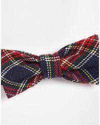 Asos Bow Tie in Plaid - Lyst