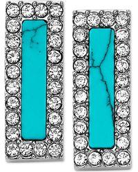 Michael Kors Silver-Tone Turquoise-Color Bar Stud Earrings blue - Lyst