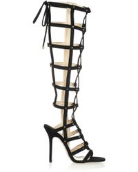 Jimmy Choo Mogul Studded Suede Cage Sandals - Lyst